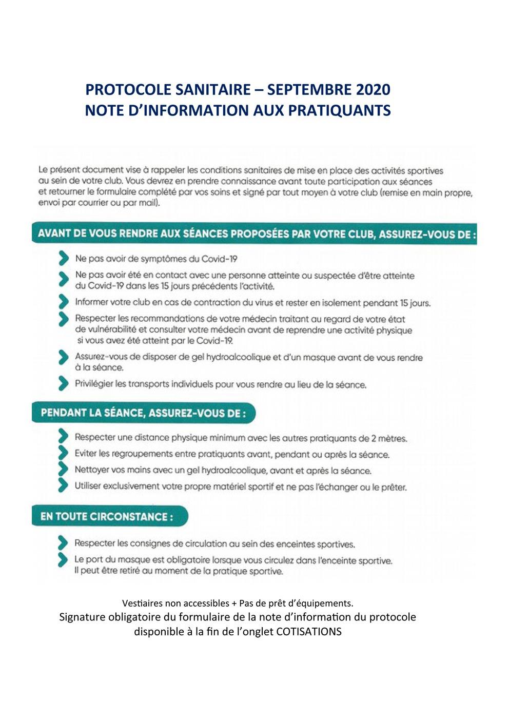AGV Pernes protocole sanitaire